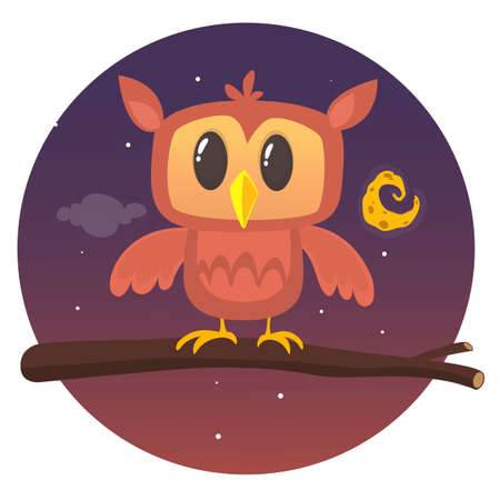 Vector illustration of owl at night sitting on the branch on the background with moon and stars Illustration