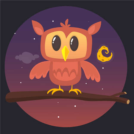 Illustration of a great horned owl on a branch silhouetting the full moon. Eps 10 Vector. Illustration