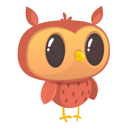 Funny cartoon owl. Wild forest animal collection. Baby education. Isolated. White background. Flat design. Vector illustration