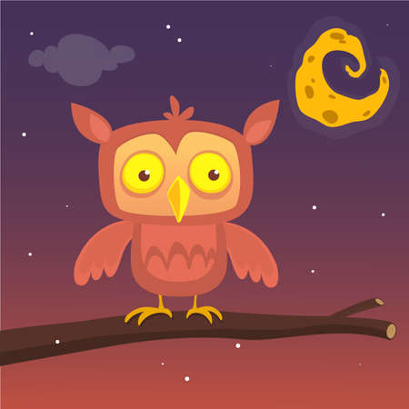 Cartoon illustration of a great horned owl on a branch silhouetting the full moon. Eps 10 Vector. Illustration