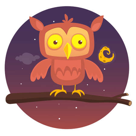 Cartoon owl sitting on branch on background of the full moon. Vector illustration