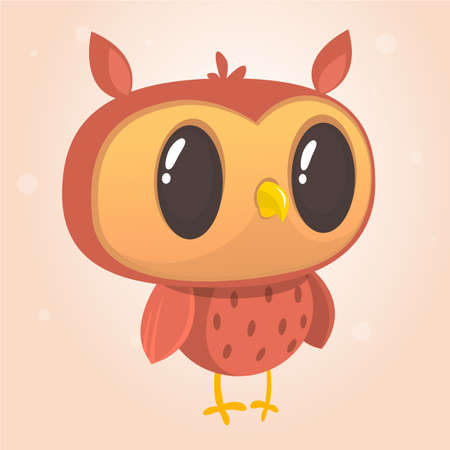Funny cartoon owl with big eyes. Vector illustration. Design for print, children book illustration or party decoration