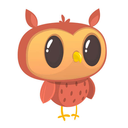 Cartoon owl with big eyes. Vector illustration. Design for print, children book illustration or party decoration