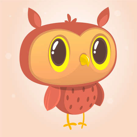 Happy cartoon owl. Vector illustration. Design for print, children book illustration or party decoration