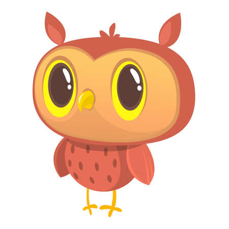 Happy cartoon owl. Vector character
