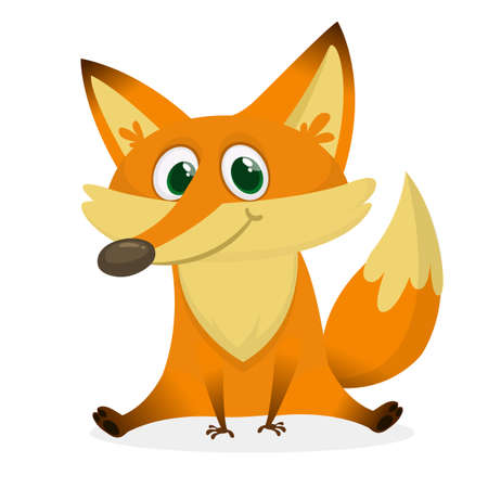 Cartoon happy and sad fox. Vector clip art illustration with simple gradients.  Illustration