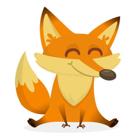 An illustration depicting a cute red fox cartoon. Eps 8 Vector.