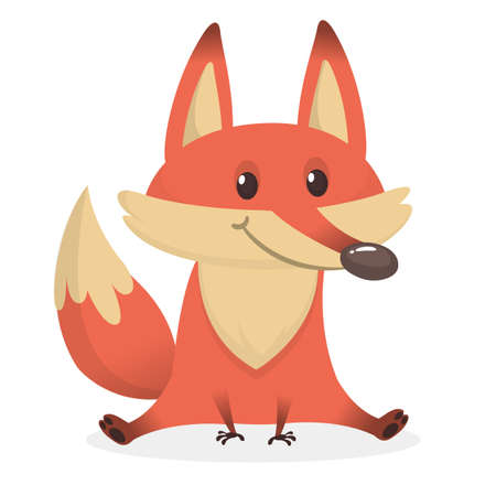 Illustration of cartoon very cute fox. Vector illustration isolated on white