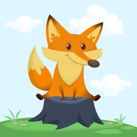 Cartoon happy fox sitting on tree stump. Vector illustration Illustration