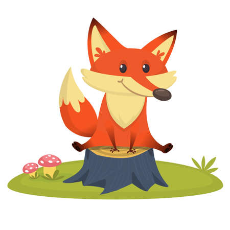 Cartoon happy fox sitting on tree stump. Vector illustration 向量圖像