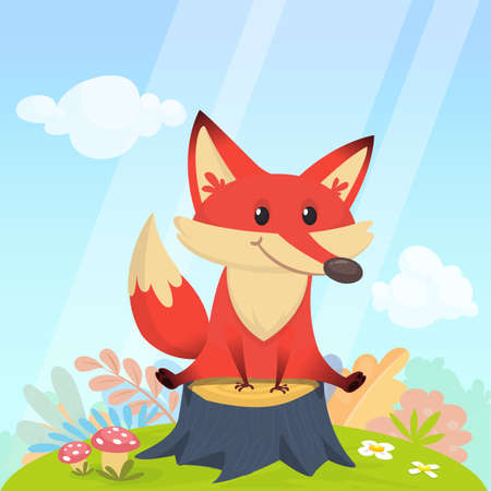Cartoon happy fox sitting on tree stump. Vector illustration Illustration