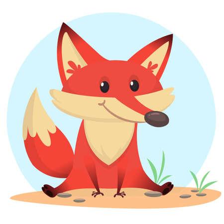 Funny cartoon fox. Vector illustration
