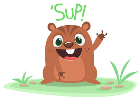 Happy cartoon groundhog saying sup. Happy groundhog day. Vector illustration