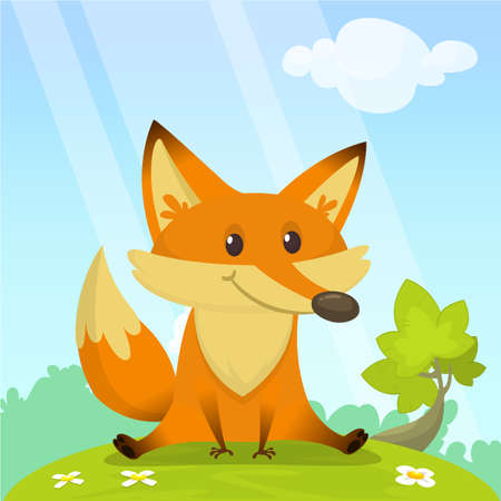 Cute fox sits on green glade. Vector illustration with an animal in cartoon style.