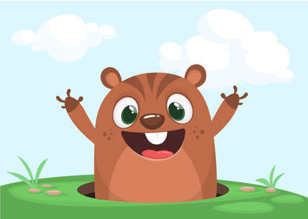 Cartoon cute marmot looking out of a hole. Happy groundhog day. Vector illustration