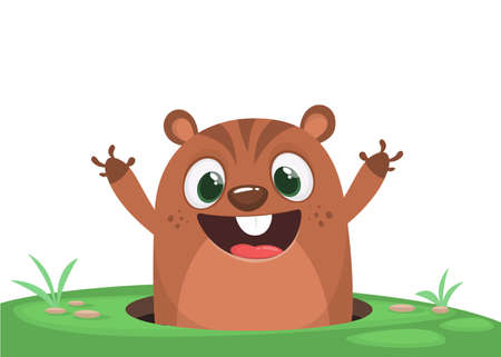 Cartoon cute marmot groundhog looking out of a hole. Happy groundhog day. Vector illustration
