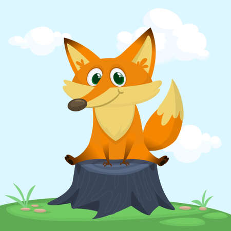 Cute fox sits. Vector illustration with an animal in cartoon style.