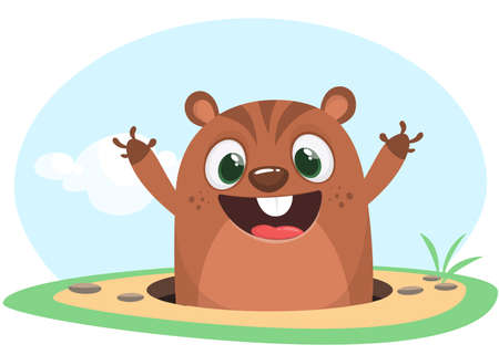 Cool cartoon marmot or chipmunk or humster in major hat waving his hands looking out of its borrow on spring background. Vector illustration. Groundhog day. Party invitation Vectores