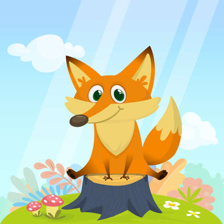 Funny cartoon fox. Vector illustration of red fox sitting on a tree stump in meadow forest background with a green grass Illustration