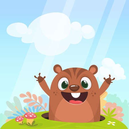 Cool cartoon marmot or chipmunk in major hat waving his hands looking out of its borrow on spring background. Vector illustration. Groundhog day.