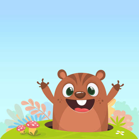 Cartoon cute brown groundhog or marmot or woodchuck in major hat waving his hands. Vector illustration. Groundhog day.  Illustration