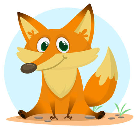 Cute happy fox . Vector illustration with an animal in cartoon style. 向量圖像