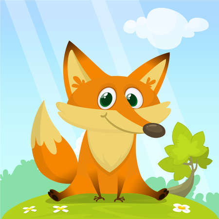 Fox in the grass - a childrens cartoon illustration - stylized vector image.
