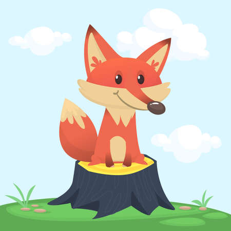 Funny cartoon fox. Vector illustration of red fox sitting on a tree stump in meadow