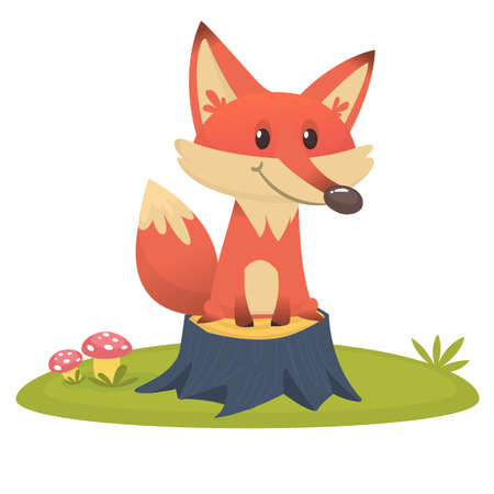 Big Red Fox tail funny cartoon style sits on tree stump in green grass background, vector illustration Illustration