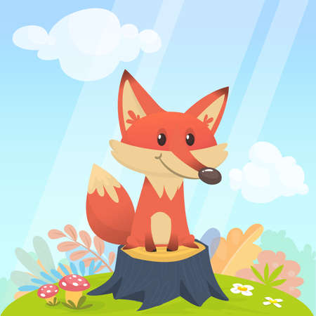 Cute fox sits on a stupm tree in the meadow. Vector illustration with animals in cartoon style.