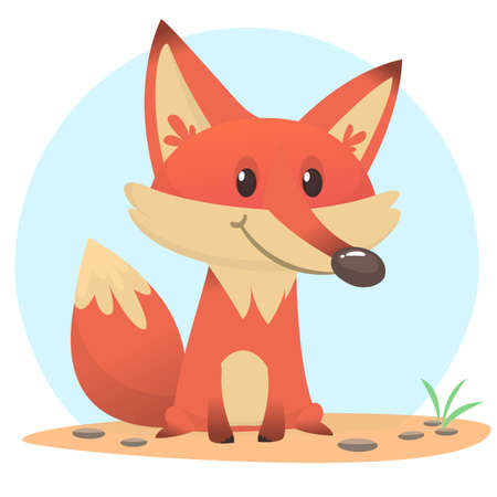 Cute fox sits on the ground. Vector illustration with animals in cartoon style.