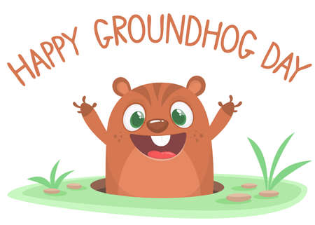 Cartoon cute marmot groundhog looking out of a hole. Happy groundhog day. Vector illustration. Party invitation poster or postcard with lettering typography Vectores