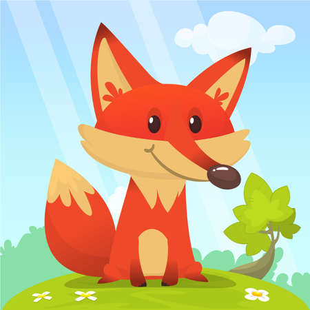 Fox in the grass - a children's cartoon illustration - stylized vector image. Stock Illustratie