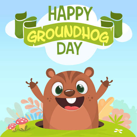 Cartoon cute marmot looking out of a hole. Vector illustration. Party invitation poster or postcard with lettering typography for Happy groundhog day