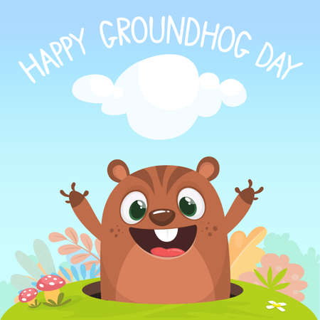 Cartoon funny marmot looking out of a burrow in the ground on a spring background with bushes, grass and flowers. Happy Groundhog day