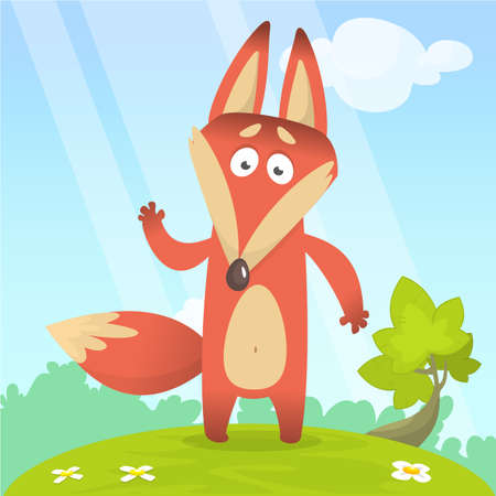 Fox in the grass - a childrens cartoon illustration - stylized vector image. For print, create videos or web graphic design, user interface, card, poster.