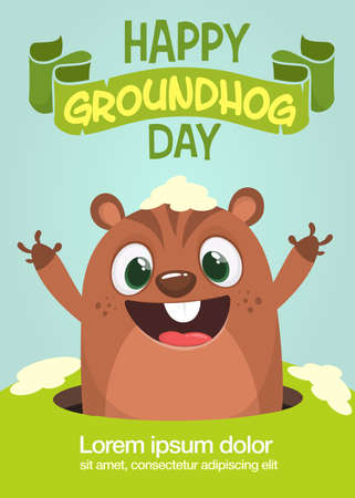 Cute cartoon marmot looking from hole in ground. Groundhog Day isolated vector illustration. Design for poster or postcard invitation