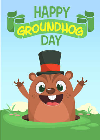Vector Happy Groundhog day card with cute brown groundhog or marmot or woodchuck isolated on . Forecast spring animal in cartoon style for greeting design. Illustration