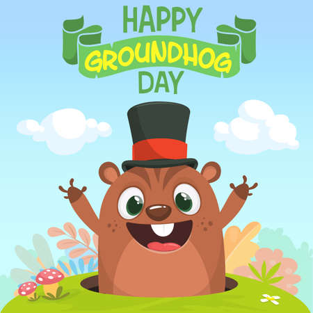 Cartoon marmot groundhog in major hat. Vector illustration. Groundhog day. Party invitation poster or postcard with lettering typography
