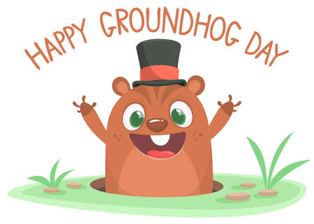 Cartoon marmot groundhog in major hat. Vector illustration. Groundhog day.