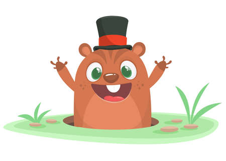 Cartoon groundhog looking out of a burrow. Happy groundhog day. Vector illustration Illustration