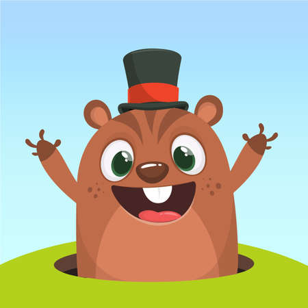 Cartoon cute marmot looking out of a burrow. Happy groundhog day. Vector illustration