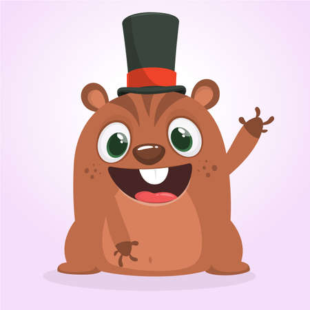 Cartoon marmot or chipmunk in major hat. Vector illustration. Groundhog day. Party invitation