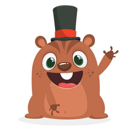 Cartoon marmot or chipmunk in major hat. Vector illustration. Groundhog day
