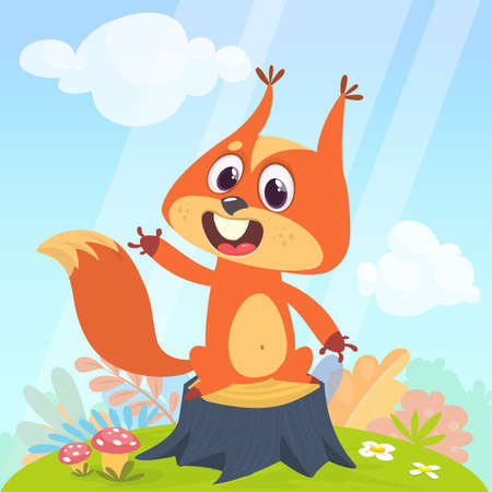 Animals in the forest. Vector illustration with cute squirrel in a childrens cartoon style. Illustration