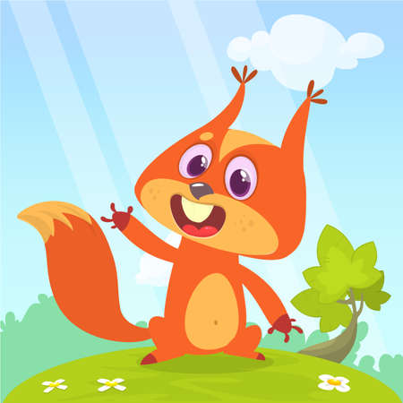 Squirrel sitting on a meadow and waving his hand. Vector illustration with cute animal in cartoon style.