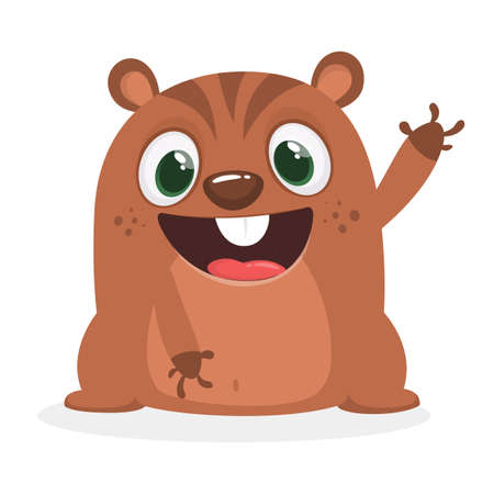 Cartoon marmot icon. Vector illustration of groundhog or chipmunk isolated