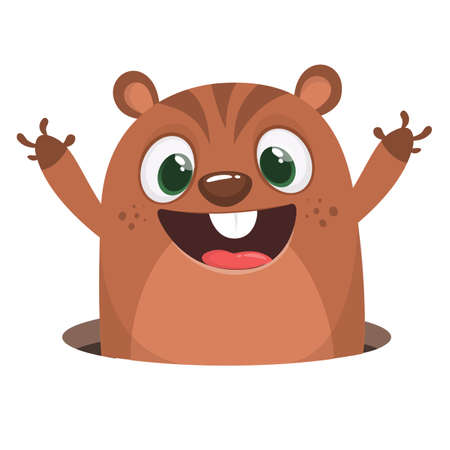 Cute cartoon brown marmot looking from hole in ground. Groundhog Day isolated vector illustration. Illustration