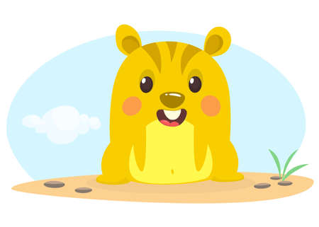 Happy cartoon hamster or chipmunk. Vector illustration isolated