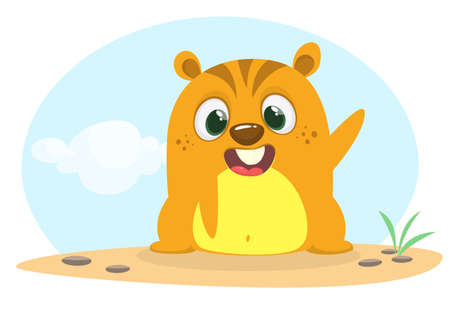 Cartoon happy groundhog or marmot or woodchuck waving his hands. Vector illustration. Groundhog day.